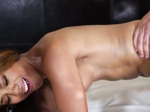 Black Teen Temptress Takes Hot Cum On Her Tongue