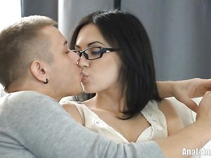 Glasses Girl Fucked Up The Butt By A Big Dick Guy
