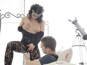 Goddess In Lingerie Teases Her Man To An Erection