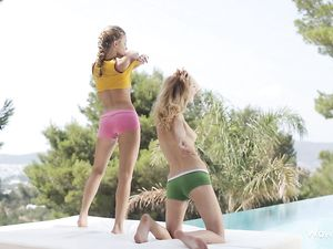 Dreamy Teens Oil Up Their Hot Bodies Outdoors