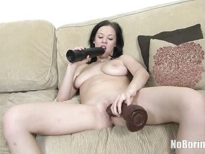 Fine Ass Teen Fucking Big Toys And Cumming On Them