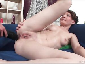 Skinny Tattooed Girl Fucked By A Giant Strapon Cock