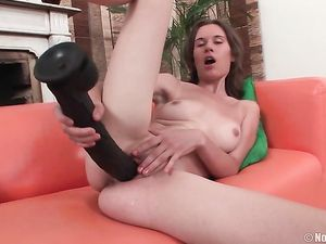 Skinny Shaved Teenager Fucks 15 Inch Dildos