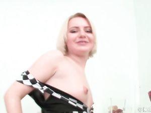 Tattooed Tummy Cutie Fucks A Huge Dildo Solo