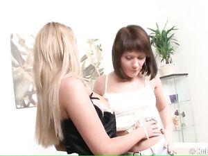 Anally Fist Fucking A Bent Over Brunette Teen Lesbian