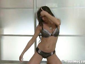 Hot Young Stripper In Heels Fingers Her Bush