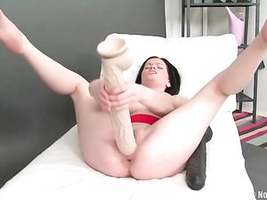 Solo Russian Girl Fucking Her Gigantic Dildos