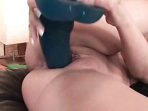Cunt Lips Stretch Around Big Dildos As She Masturbates