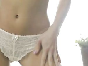 Tease In Lace Panties Finger Bangs Her Fresh Pussy