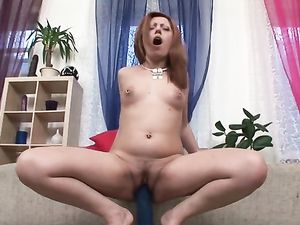 Dirty Stripping Slut Stretches Her Cunt With A Fat Dildo