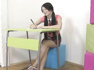 Horny Schoolgirl Loves Fucking Instead Of Studying