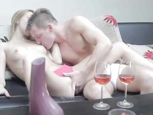 Young Couple Drinking Wine And Filming A Porn Clip