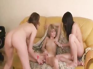 Bottle Inside Young Teen's Pussy In A Threesome
