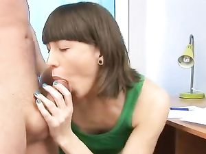 Brunette Cutie Knows How To Please A Cock