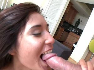 Mouthful for A Lovely Brunette After Fucking
