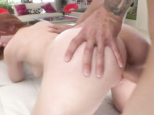 Pale Redhead Gets Her Mouth And Her Pussy Fucked