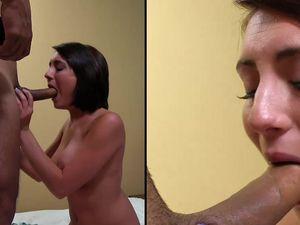 Hot Facial Cumshot For A Pretty Teen Brunette Babe