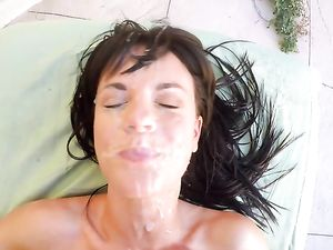 Pretty Teen Gets Oiled Up, Rimed and Fucked by a Big Cock. POV.