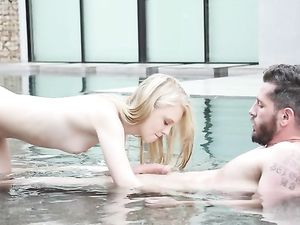 Pretty Blonde 18 Year Old In The Pool Blows Him