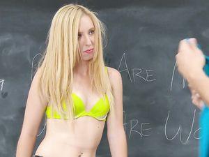 Eager Blonde Schoolgirl Slut Has Pierced Nipples