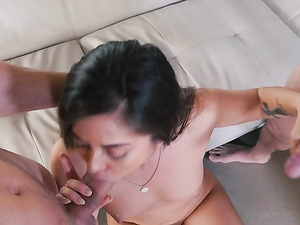 Her First Time Blowing Two Guys At Once