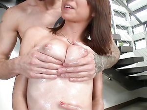 Joyful Teen Coated In Oil And Fucked By A Big Dick