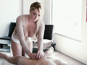 Big Boobs Masseuse Climbs On The Table For His Dick