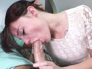 Sweetheart Dressed In White Lace Takes A Big Cock