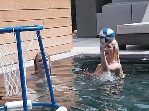 Kissing Teen Chicks Share His Big Dick In The Pool