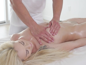 Tiny Blonde Lady Laid Hardcore On His Massage Table